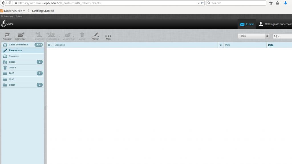 Captura de tela da caixa de entrada do Webmail UEPB exibindo a barra de tarefas na parte superior e menu com as pastas de mensagens na lateral do lado esquerdo da tela.